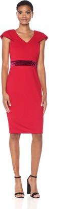Taylor Dresses Women's Cap Sleeve Sheath Dress with Velvet Inset at Waist