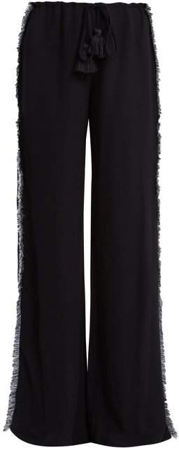 Figue Simone Straight Leg Fringed Crepe Trousers - Womens - Navy