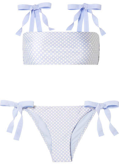 Zimmermann Bowie Grosgrain-trimmed Polka-dot Bikini - Light blue