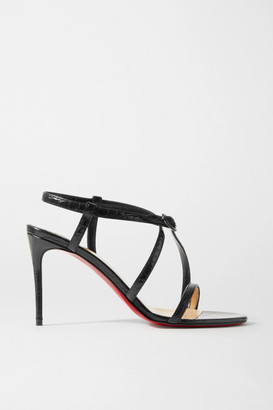 Christian Louboutin Selima 85 Croc-effect Leather Sandals - Black