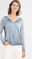 Esprit Long sleeve Henley top in a washed look