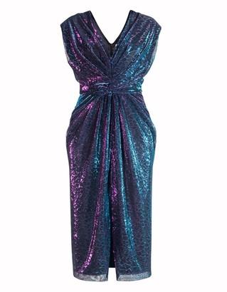 Diana Arno Louise Cocktail Midi Dress In Purple Chameleon