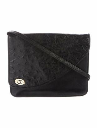 Gucci Vintage Ostrich Flap Bag Black