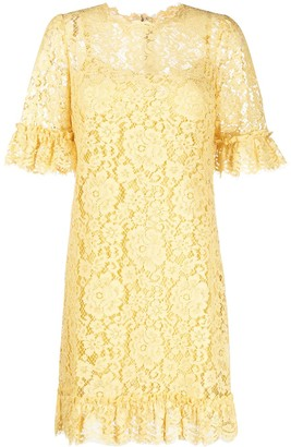 Dolce & Gabbana Floral Lace Quarter-Length Sleeve Dress
