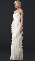 Badgley Mischka Collection Iridescent Strapless Ruffle Gown