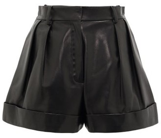 Valentino High-rise Leather Shorts - Black