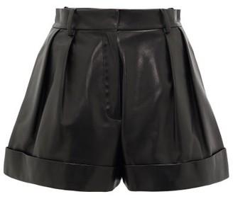 Valentino High-rise Leather Shorts - Womens - Black
