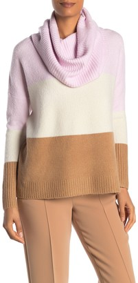 French Connection Cowl Neck Ribbed Flossy Colorblock Sweater