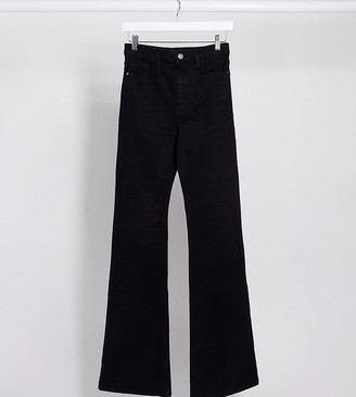 Stradivarius Tall flare jeans in black