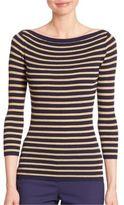 Michael Kors Metallic Striped Merino Wool Boatneck Sweater