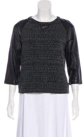 Gryphon Leather-Accented Long Sleeve Top