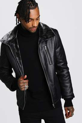 BoohoomanBoohooMAN Mens Black Faux Leather Aviator With Faux Fur Collar, Black