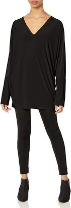 Norma Kamali Women's Long Sleeve DEEP V Neck Dolman TOP