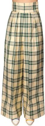 Rosie Assoulin High Waist Tartan Print Pants