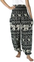 NaLuck Women's Boho Hippie Elephant Jumpsuit Smocked Waist Yoga Harem Pants PJ09