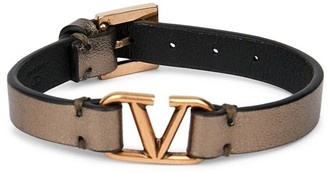 Valentino VLogo Leather Bracelet