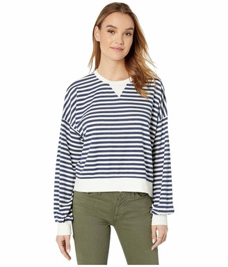Cupcakes And Cashmere Women's Slate Striped French Terry Crew Neck Sweatshirt