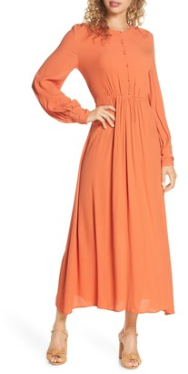 French Connection Essi Long Sleeve Crepe Midi Dress