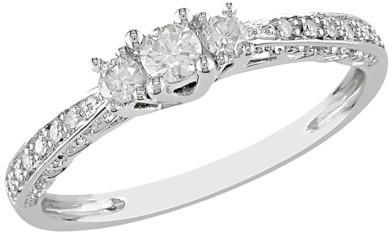Diamond 1/4 CT.T.W. 3-Stone Ring in 10K White Gold (GHI I2;I3)