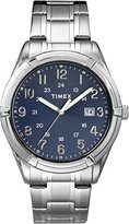 Timex #TW2P76400 Men's Elevated Classics Silver Tone Blue Dial Date Analog Watch