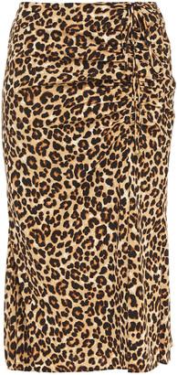 Veronica Beard Ruched Leopard-print Silk-blend Dress