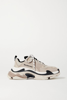 Balenciaga Triple S Logo-embroidered Leather And Mesh Sneakers - Beige