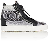 Giuseppe Zanotti Men's Stamped Leather Double-Zip High-Top Sneakers-GREY
