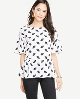 Ann Taylor Petite Petaled Ruffle Mixed Media Tee