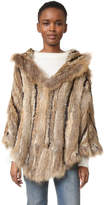 Adrienne Landau Hooded Fur Poncho