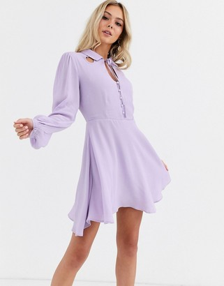 Glamorous button front mini dress with tie neck detail-Purple