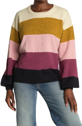 ALL IN FAVOR Striped Balloon Sleeve Sweater