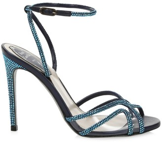 Rene Caovilla Crystal-Embellished Vinyl & Satin Sandals
