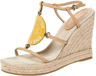Louis Vuitton Beige Vachetta Leather Divine Trunks And Bags Espadrille Wedge Sandals Size 38
