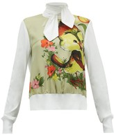 Symonds Pearmain - Bird-print Tie-neck Cotton Top - Womens - White Multi