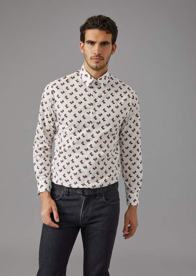 Giorgio Armani Shirt With Dog Pattern