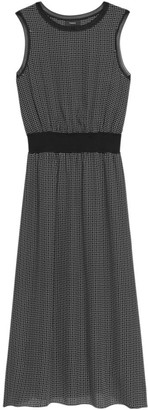 Theory Rib-Knit Trim Silk Dress