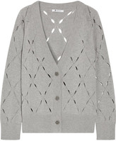 Alexander Wang Pointelle-knit Cotton And Modal-blend Cardigan - Light gray