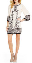 M.S.S.P. Crepe Printed Lace Trim Shift Dress