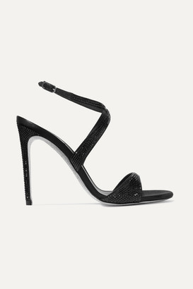 Rene Caovilla Crystal-embellished Satin And Leather Sandals - Black