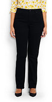 Lands' End Women's Plus Size Mid Rise Straight Leg Jeans-Black