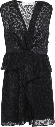 IRO Ruffled Leopard-print Fil Coupe Chiffon Mini Dress