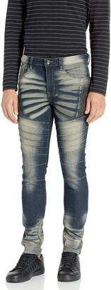 Southpole Men's Super Skinny Biker/Moto Denim Pants