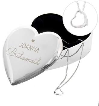 The Love Silver Collection Silver Open Heart Necklace with Personalised Wedding Role Heart Trinket Box