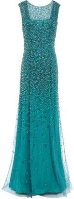 Jenny Packham Assana Open-back Beaded Tulle Gown