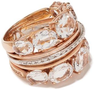 Brumani 18kt rose and white gold Looping Shine diamond and quartz ring