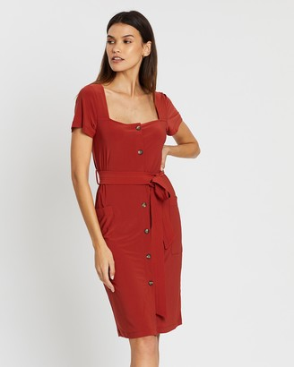 French Connection Square Neck Jersey Dress
