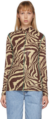 Ganni Brown Foil Jersey Animal Print Turtleneck