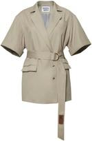 BEIGE Diana Arno Bertha Short-Sleeve Blazer In Sandy