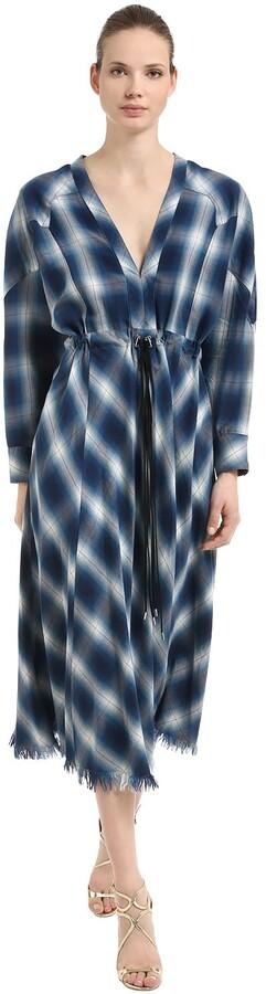 Jonathan Simkhai Western Washed Cotton Plaid Midi Dress