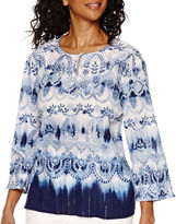 Alfred Dunner All Aboard 3/4-Sleeve Watercolor Tunic Shirt